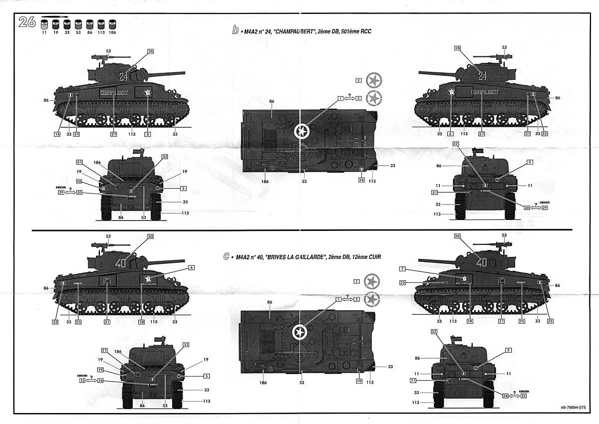 Sherman M4A2 Division Leclerc ref 79894 Plansherman4